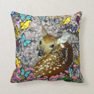 Bambina the White-Tailed Fawn in Butterflies Pillow