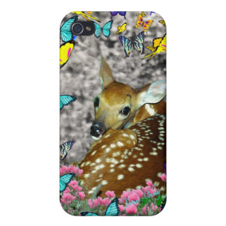 Bambina the White-Tailed Fawn in Butterflies iPhone 4 Case