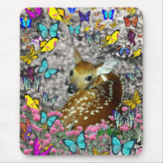 Bambina the White-Tailed Fawn in Butterflies Mousepad