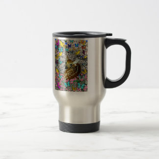 Bambina the White-Tailed Fawn in Butterflies Stainless Steel Travel Mug