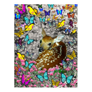 Bambina the White-Tailed Fawn in Butterflies Postcard