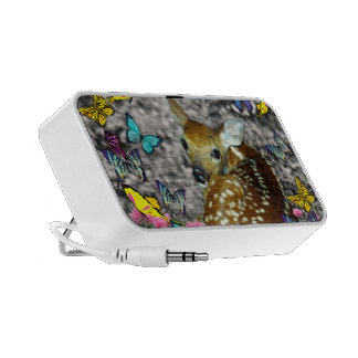 Bambina the White-Tailed Fawn in Butterflies Laptop Speaker