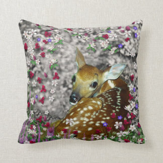 Bambina the White-Tailed Fawn in Flowers I Cushion