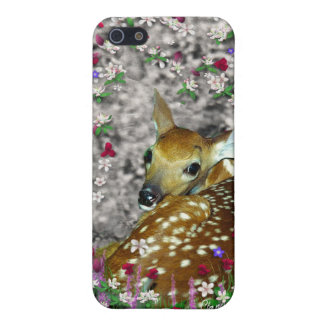 Bambina the White-Tailed Fawn in Flowers I Covers For iPhone 5