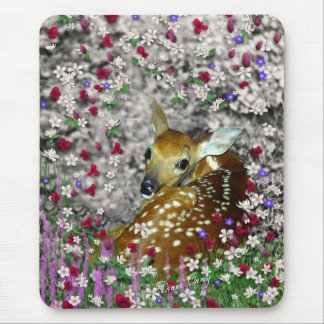 Bambina the White-Tailed Fawn in Flowers I Mouse Pad