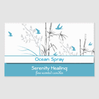 bamboo and blue birds candle label customizable 1b rectangular sticker