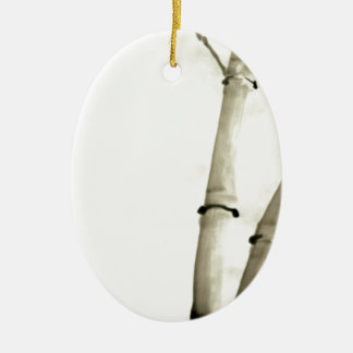 Bamboo and leaves ceramic oval decoration