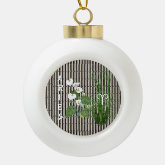 Bamboo and Lily Aries Ceramic Ball Christmas Ornament