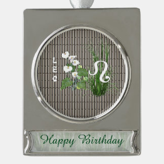 Bamboo and Lily Leo Silver Plated Banner Ornament