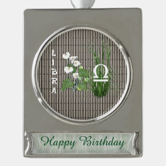Bamboo and Lily Libra Silver Plated Banner Ornament
