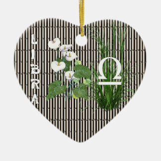 Bamboo and Lily Libra Ceramic Heart Decoration