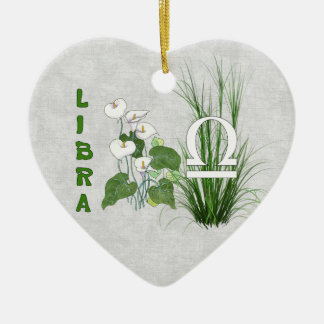 Bamboo and Lily Libra Double-Sided Heart Ceramic Christmas Ornament