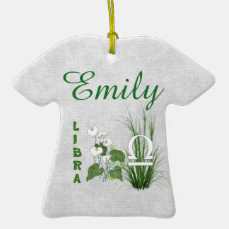 Bamboo and Lily Libra Double-Sided T-Shirt Ceramic Christmas Ornament