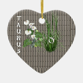 Bamboo and Lily Taurus Ceramic Heart Decoration