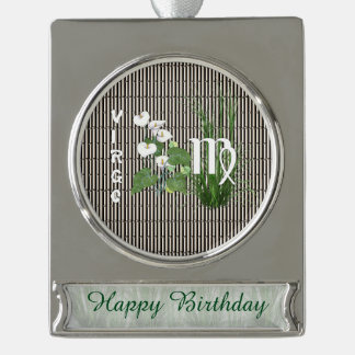 Bamboo and Lily Virgo Silver Plated Banner Ornament