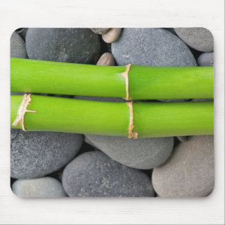 Bamboo and pebble mouse pad