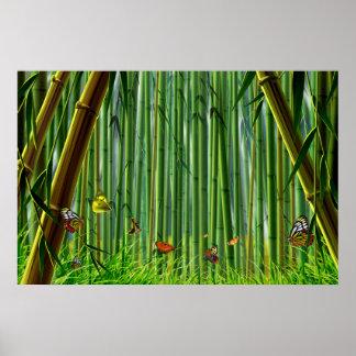 Bamboo & Butterfly Art 1 Poster