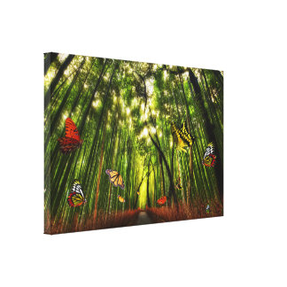 Bamboo & Butterfly Art 2 Wrapped Canvas