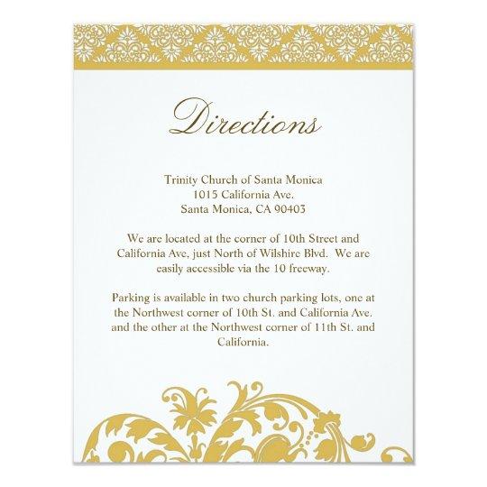 Bamboo Damask Wedding Direction Card Invitation