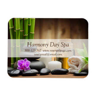 Bamboo Flower Oil Zen Spa Massage Rectangular Photo Magnet