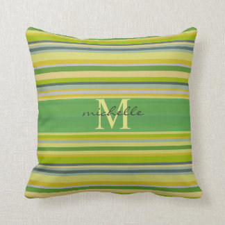 Bamboo Greens Multi-Stripe Pattern Mongram Cushion