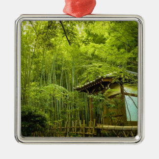 Bamboo Groves And Hut Metal Ornament