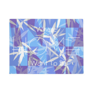 Bamboo in Blue Geometric Pattern Doormat