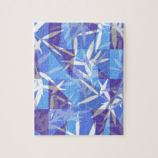 Bamboo in Blue Geometric Pattern Jigsaw Puzzle