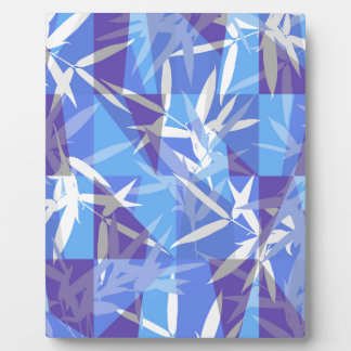 Bamboo in Blue Geometric Pattern Plaque