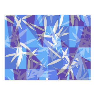 Bamboo in Blue Geometric Pattern Postcard