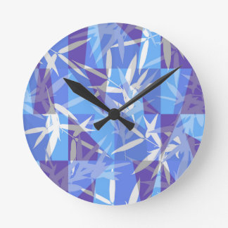 Bamboo in Blue Geometric Pattern Round Clock