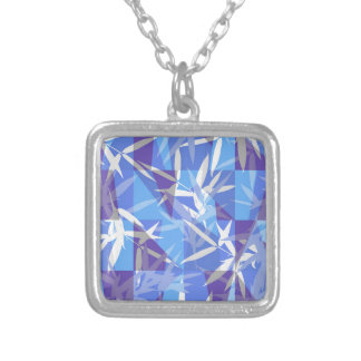 Bamboo in Blue Geometric Pattern Silver Plated Necklace