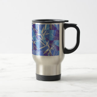 Bamboo in Blue Geometric Pattern Travel Mug
