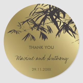 Bamboo Leaves Black + Gold Thank You / Favor Label Round Sticker