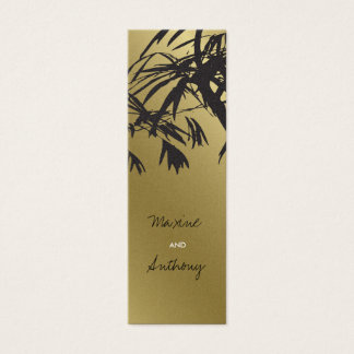 Bamboo Leaves Black + Gold Thank You Gift Tag / Mini Business Card