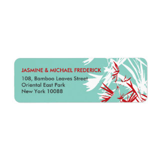 Bamboo Leaves Modern Asian Wedding Address Labels