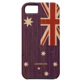 Bamboo Look & Engraved Australia Australian Flag iPhone 5 Cover