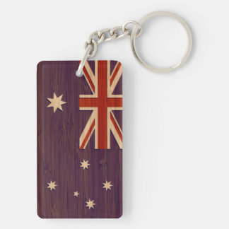 Bamboo Look & Engraved Australia Australian Flag Key Ring