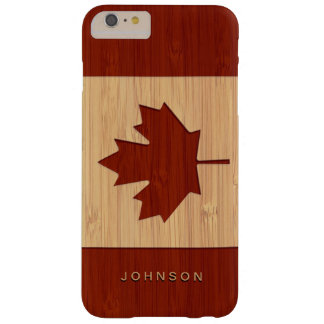 Bamboo Look Engraved Canada Flag Maple Leaf Barely There iPhone 6 Plus Case