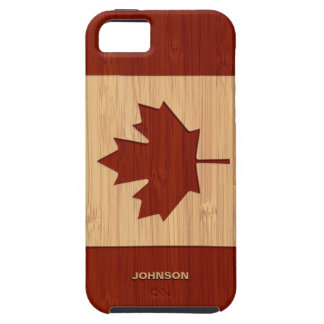 Bamboo Look & Engraved Canada Flag Maple Leaf iPhone 5 Covers