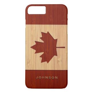 Bamboo Look Engraved Canada Flag Maple Leaf iPhone 8 Plus/7 Plus Case