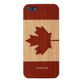 Bamboo Look & Engraved Canada Flag Maple Leaf Cases For iPhone 5