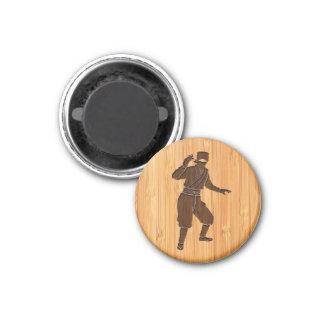 Bamboo Look & Engraved Cool Japanese Ninja 3 Cm Round Magnet