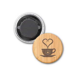 Bamboo Look & Engraved Cute I Love Coffee 3 Cm Round Magnet