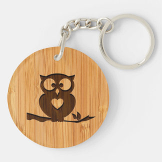 Bamboo Look & Engraved Cute Owl in Tree Key Ring