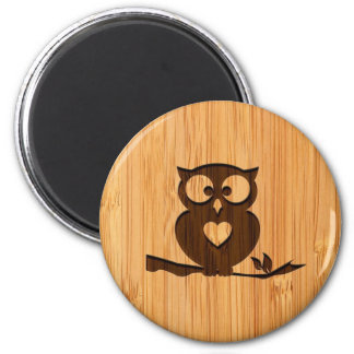 Bamboo Look & Engraved Cute Owl in Tree 6 Cm Round Magnet