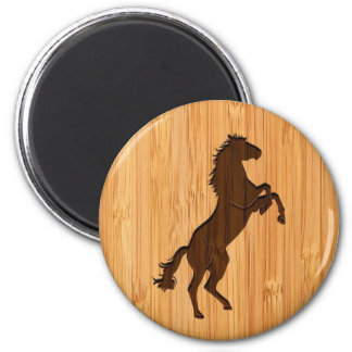 Bamboo Look & Engraved Elegant Standing Horse 6 Cm Round Magnet