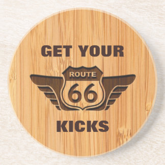 Bamboo Look & Engraved Get Your Kicks on Route 66 Coaster