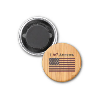 Bamboo Look & Engraved I Love America Flag 3 Cm Round Magnet