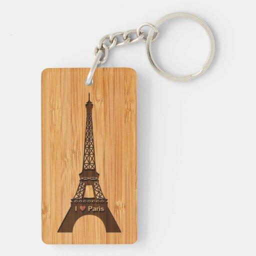 Bamboo Look & Engraved I Love Paris Eiffel Tower Rectangular Acrylic Key Chain